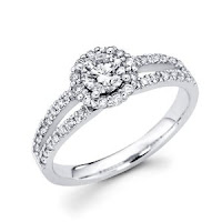 White Gold Round Diamond Engagement Ring with Side Stone