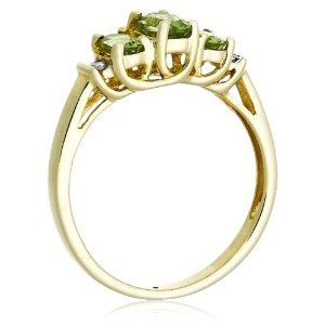 Yellow Gold August Birthstone 3-Stone Peridot Ring Diamond Accent