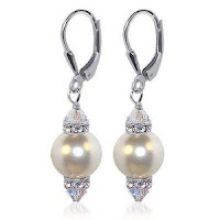 White Swarovski Pearl And Swarovski Crystal Silver Leverback Earrings