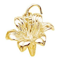 14K Yellow Gold Lily Charm
