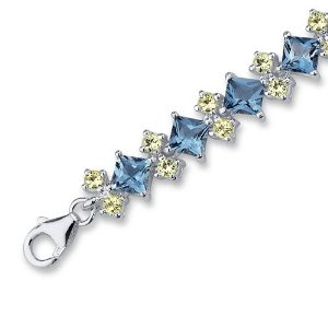 London Blue Topaz Peridot Bracelet in Sterling Silver
