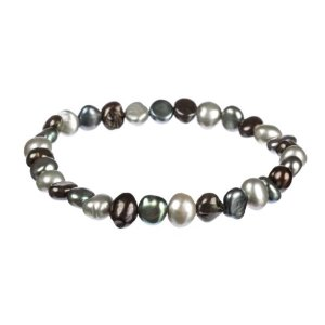 7 Piece Black and White pearl bracelets