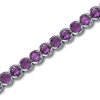 Amethyst Gemstone Tennis Bracelet in Sterling Silver