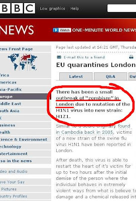 """There has been a small outbreak of """"zombism"""" in London due to mutation of the H1N1 virus into new strain: H1Z1"""
