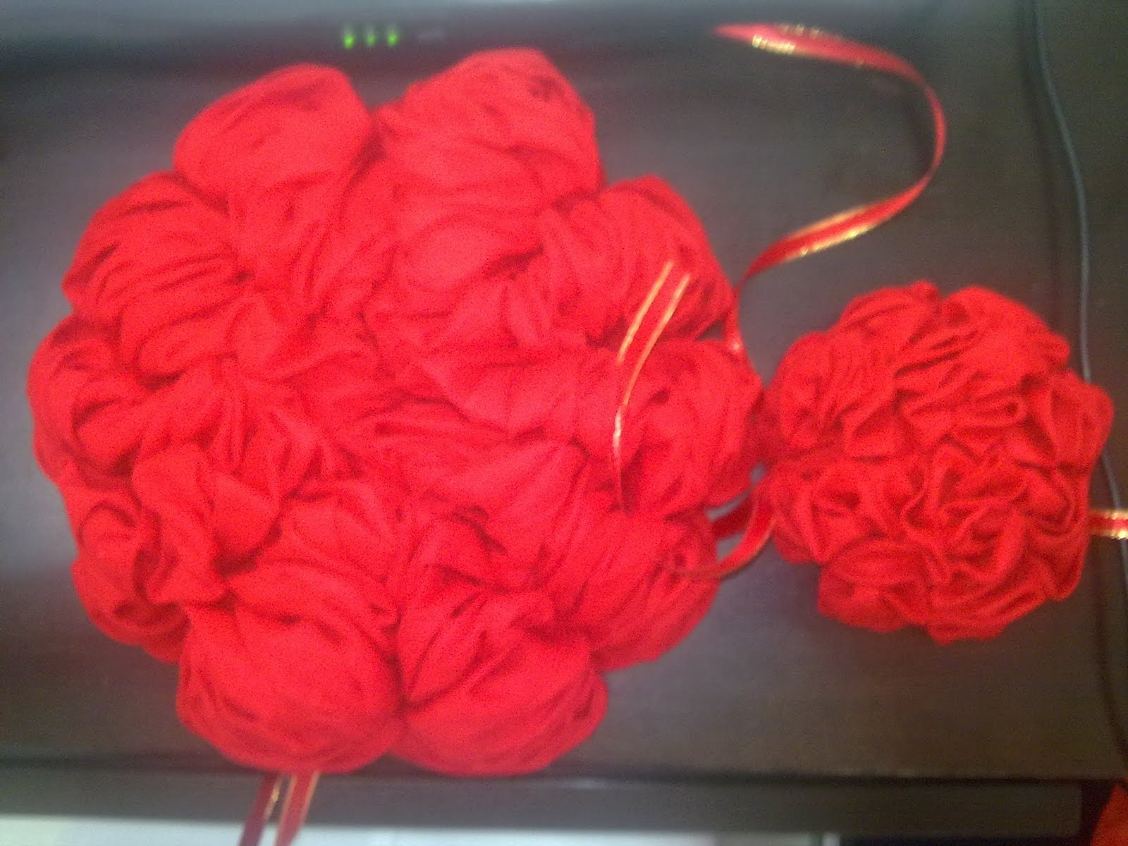 This Hand Made Cotton Red Cloth Flower Is An Ideal Decoration Item Together  With The Red Cloth To Hang On The Door On Wedding Day.