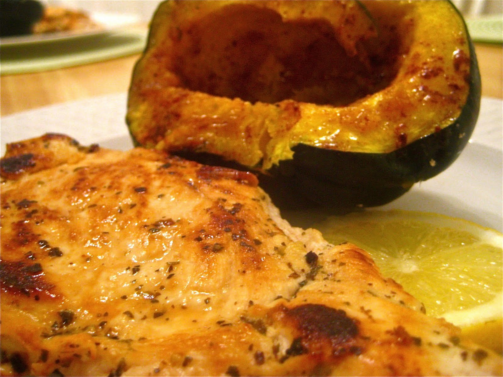 ... in the books, still time to cook.: Lemon-Herb Chicken and Acorn Squash