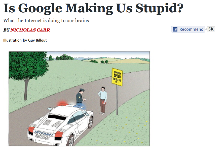 the human dependence on technology in is google making us stupid by nicholas carr and the influencin The first question to consider in responding to nicholas carr's essay is whether or not you agree with carr's central argument do you agree with carr and believe that the human mind is shaped.