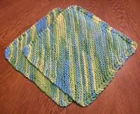Diagonal Knit Dishcloth Pattern : Barbaras Hooks, Eyes and Needles: Moms Diagonal Knit ...
