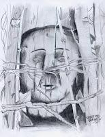 Dibujo étnico realizado por Sebastián Vargas, artista plástico de la Comuna de Frutillar