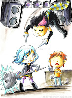Ramona Flowers vs. Knives Chau (w/ Scott Pilgrim watching) by Agnes Garbowska (2010)