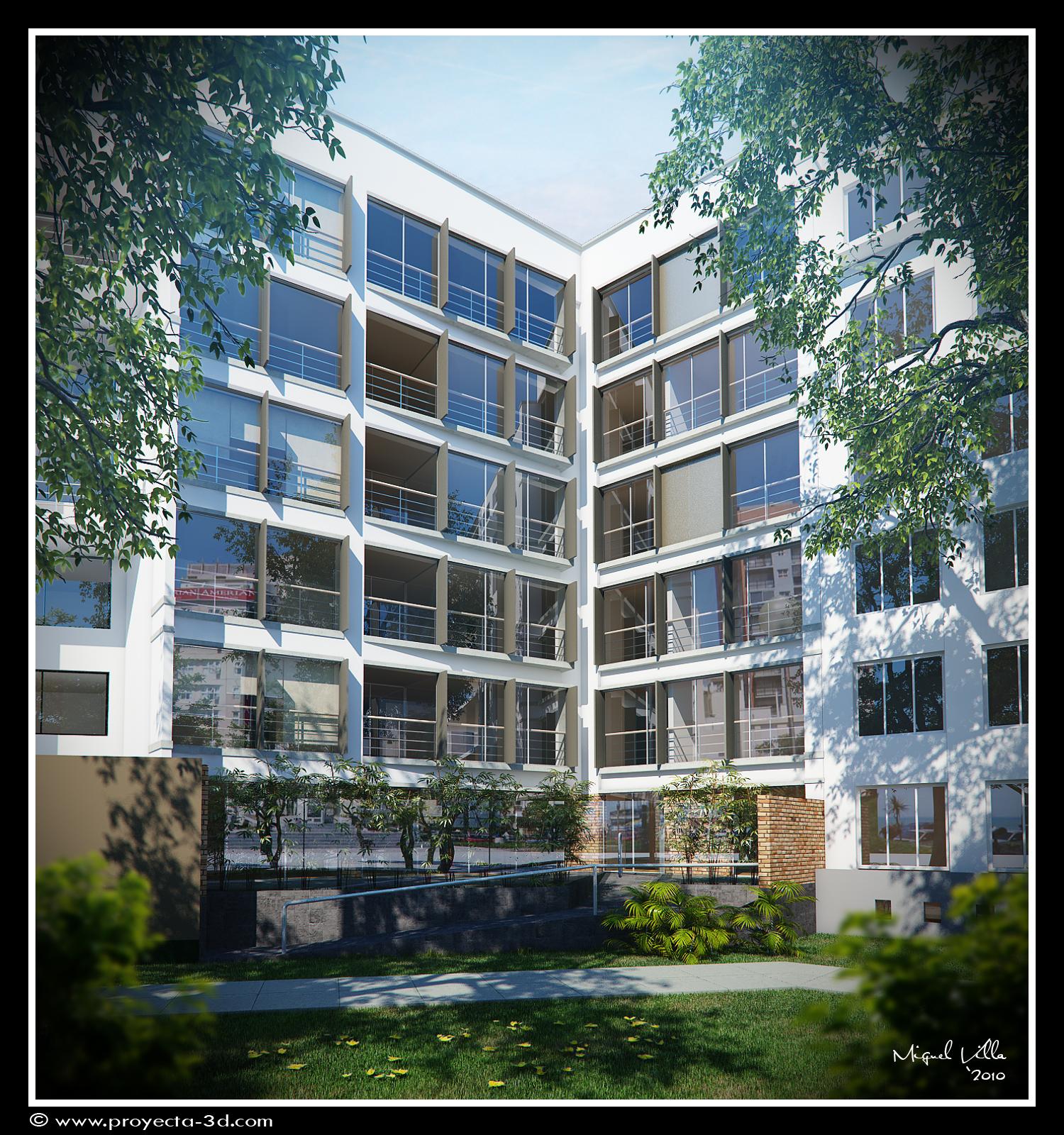 Proyecta 3d studio edificio exterior for Exterior edificios