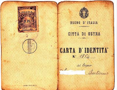 Ostra,Carta d'identità,1936,rarità