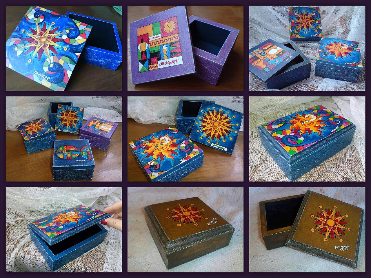 Cajas pintadas de madera imagui - Pintar sobre madera barnizada ...