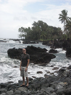 Noah in front of the rough seas on the Ke'anae Peninsula