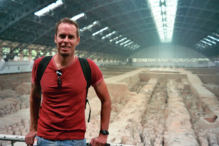 Inside the giant hanger sheltering the excavation pit