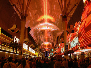 The colorful ceiling of the Fremont Street Experience