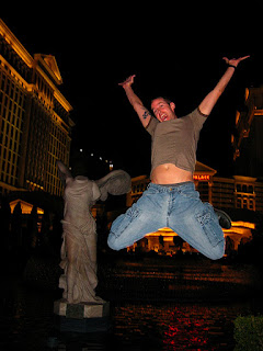 Noah leaping in front of Caesar's Palace.