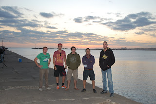 Johnny, Matt, Jake, Adam and Noah on the Escollera Sarandi in Montevideo.