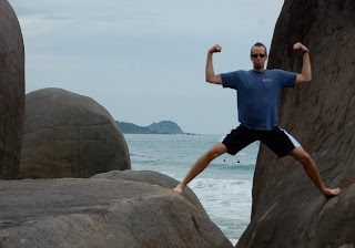 Noah on the rocks at Trindade Beach