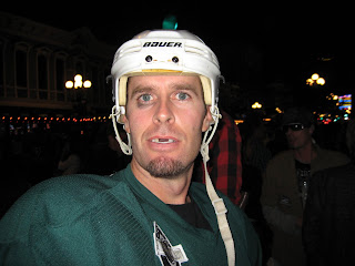 Hockey player in the Gaslamp Quarter