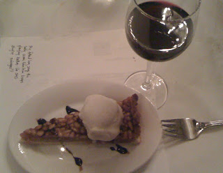 Honey and Pinenut Tart with Vanilla Gelato and Balsamic Vinegar