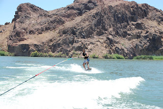 Chad wakeboarding during the afternoon.