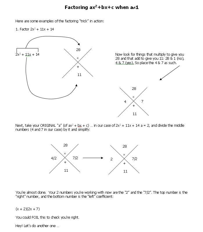 Math Teacher Mambo: Factoring Trick