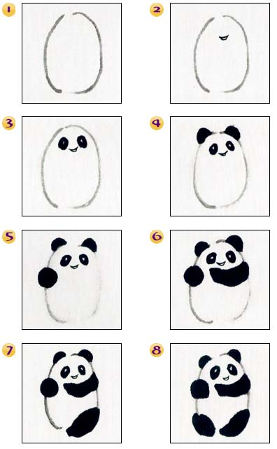 Osos panda dibujo paso a paso