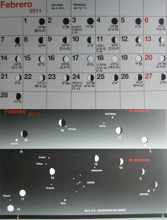 Febrero calendario lunar