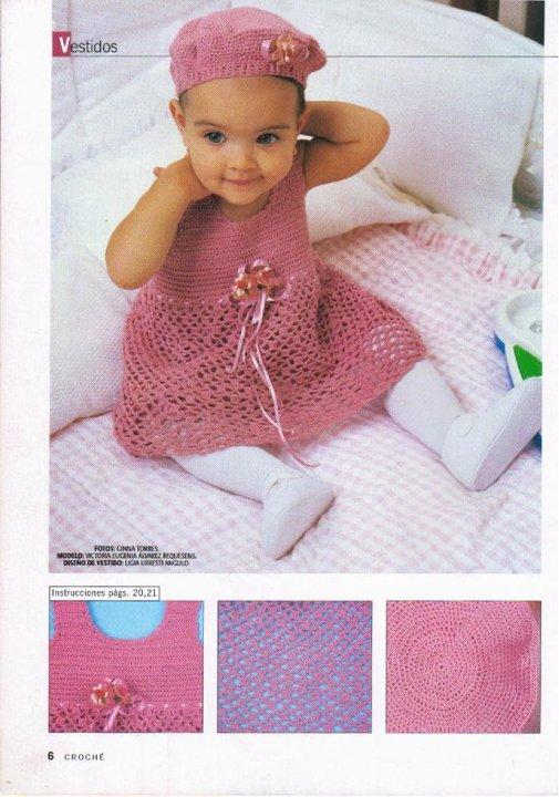 Virginia mis tejidos y mucho mas  vestido para beba con boina 66956b857b1