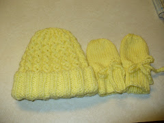 Cable Hat and Bowed Mittens-NB