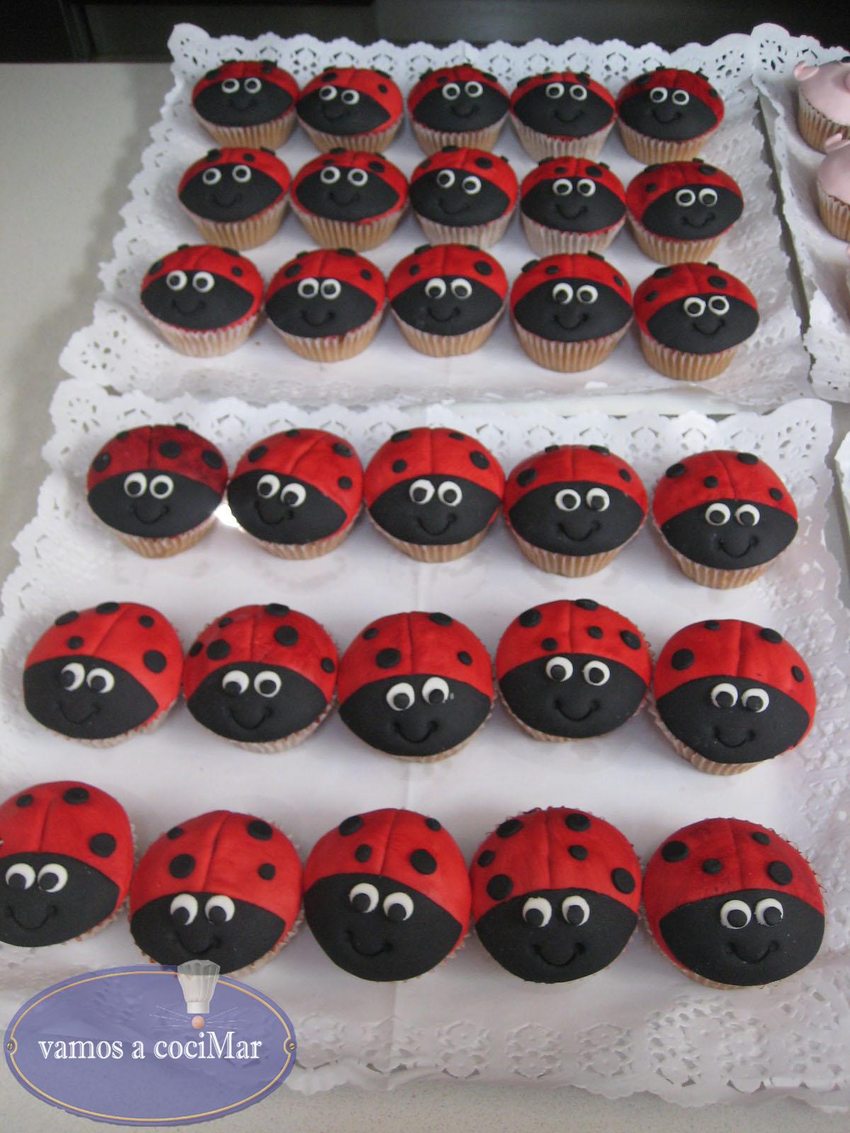 Cupcakes fondant mariquitas y cerditos
