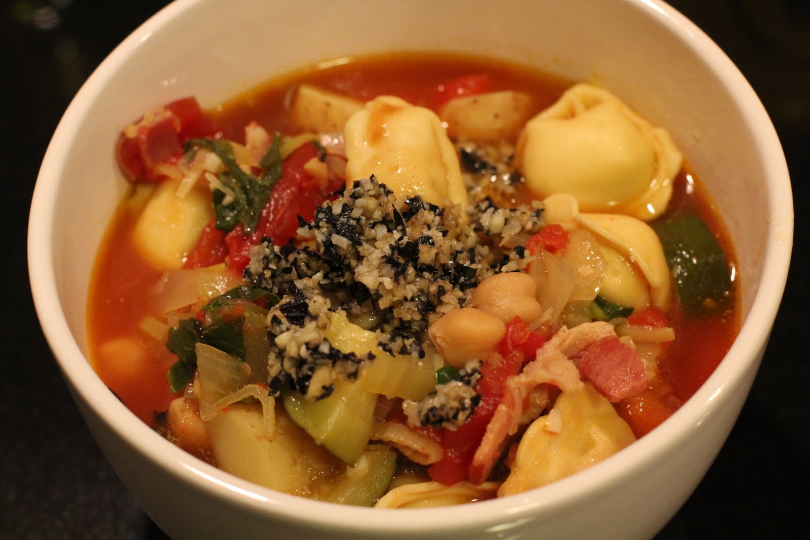 Smoky minestrone with tortellini & basil pesto