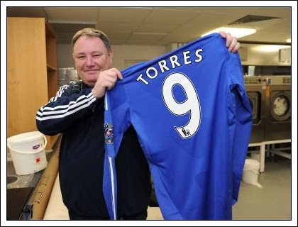 Torres's first Chelsea shirt - by Chelsea kit man Mick Roberts.