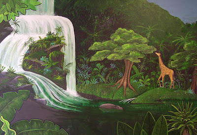 This is a detail view of the waterfall and giraffe in our jungle mural.