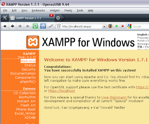 Welcome to XAMPP for Windows