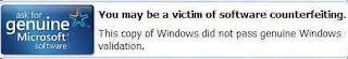 Peringatan windowsXP bajakan