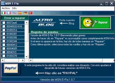 MSN E-Fix – Repara los errores mas comunes del Mesenger