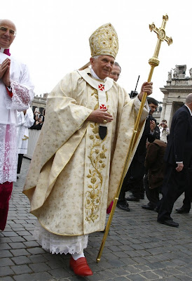 For The Mass Holy Father Wore Vestments Of His 80th Birthday