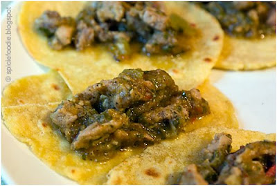 pork tacos, green salsa