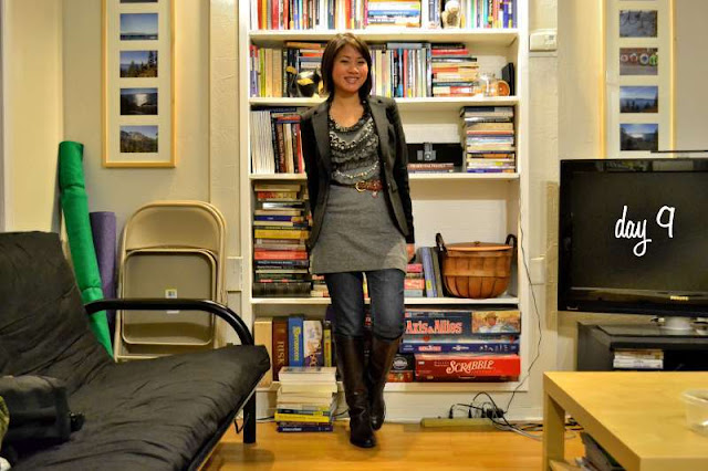 office fashion blogger the new professional angeline evans gray ruffle dress banana republic blazer franco sarto boots girls night out