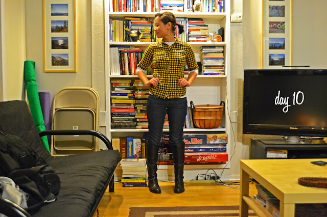 office fashion blogger angeline evans the new professional ross plaid flannel shirt skinny jeans franco sarto brown boots urban outfitters two-finger ring casual friday