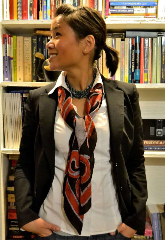 office fashion blogger angeline evans the new professional banana republic blazer rockabilly jeans vintage scarf necklace