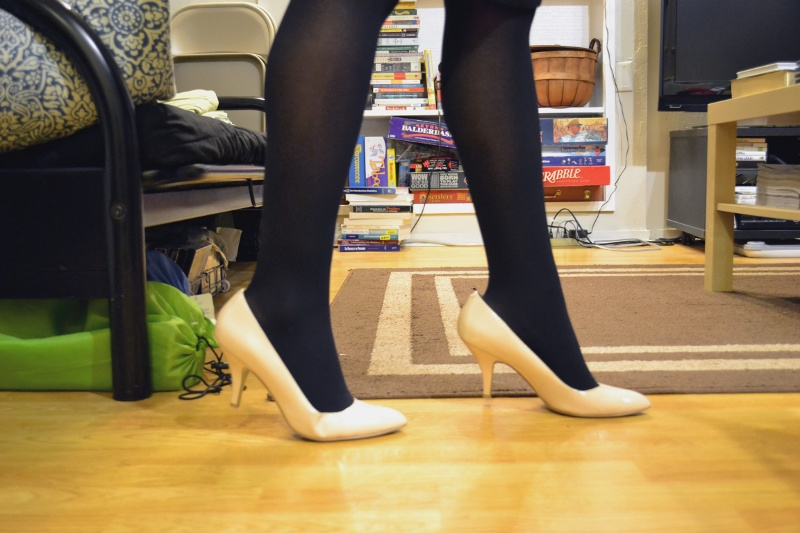 office fashion blogger angeline evans the new professional enzo angiolini nude pumps dark tights