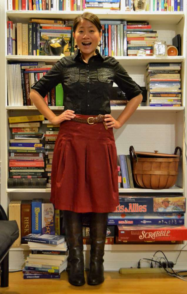 office fashion blog the new professional angeline evans business casual target skirt franco sarto flat boots vintage belt kohls tights