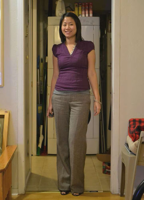 sacramento office fashion blogger angeline huang evans the new professional hm shirt old navy tweed trousers enzo angiolini peeptoe pumps swap forever 21 chain bracelet business casual