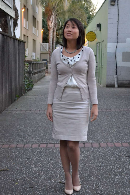 sacramento office fashion blogger angeline evans the new professional hm cardigan calvin klein top loft pencil skirt enzo angiolini pumps hue nude fishnets