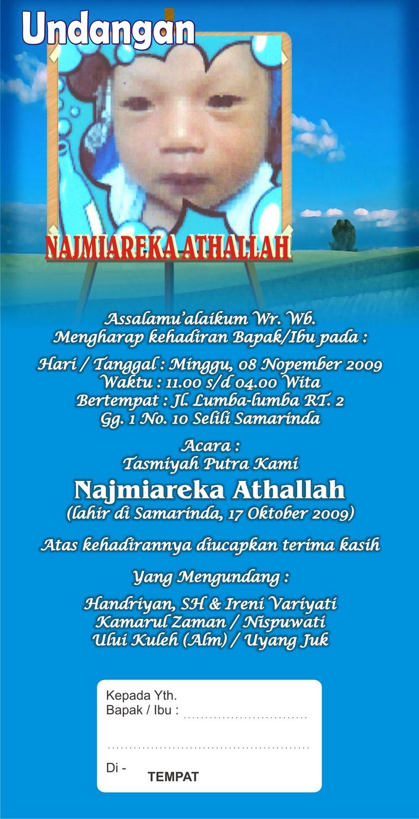 Cetak Undangan Tasmiyah & Aqiqah - Samarinda