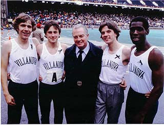 Jack with thevictorious VILLANOVA 4 X ONE MILE RELAY TEAM wearing black ribbons at the 1981 PENN RELAYS.From left: KEN LUCKS, MARCUS O'SULLIVAN (CURRENT VILLANOVA COACH), JACK PYRAH, JOHN HUNTER, AND SYDNEY MAREE.