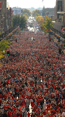 Close to 3 million people line Broad Street